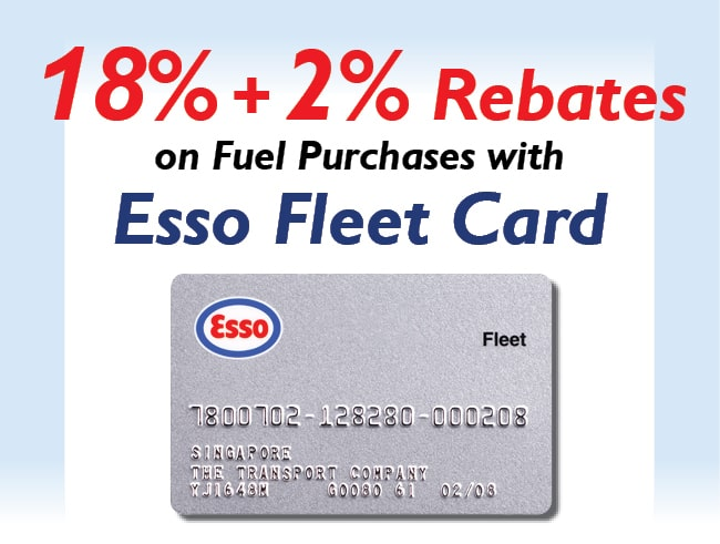 The Esso Fleet Card now offers 18% + 2% Rebate on Fuel Purchases